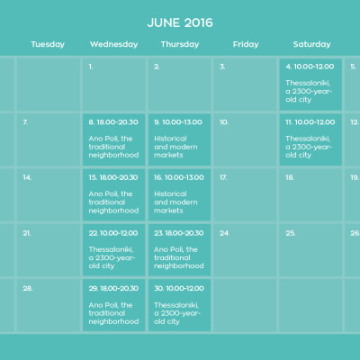 June's schedule for visitors